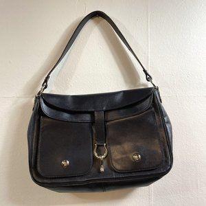 Kate Spade Early 2000's Horse Bit Buckle Black Leather Handbag